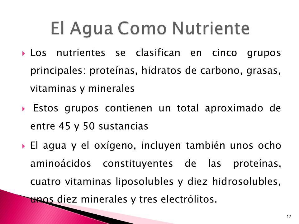 El Agua Como Nutriente Los nutrientes se clasifican en cinco grupos principales: proteínas, hidratos de carbono, grasas, vitaminas y minerales.