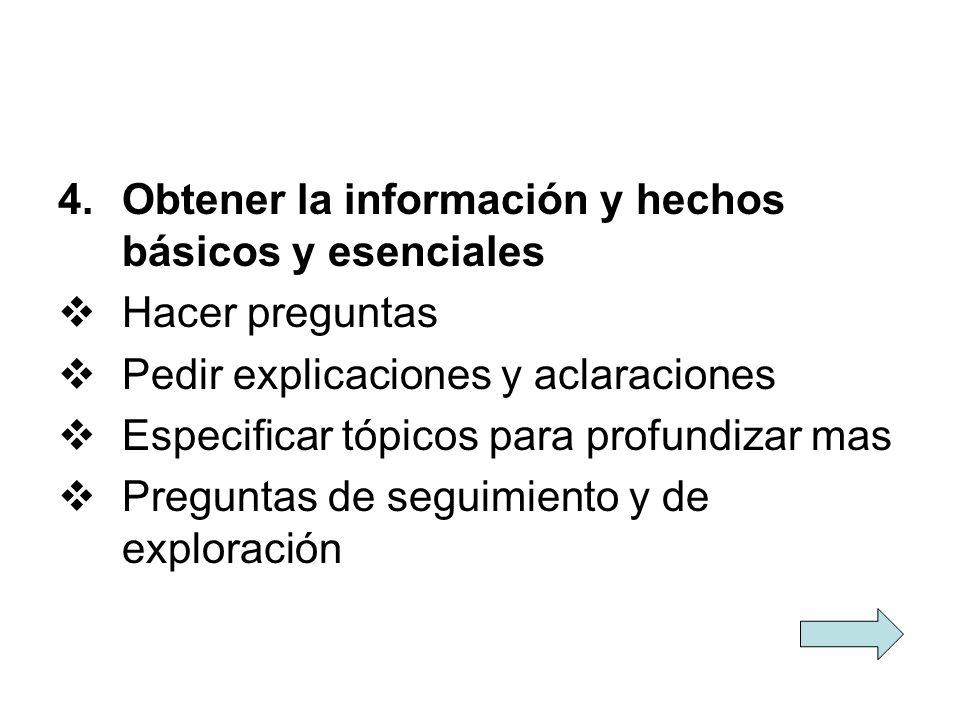 Obtener la información y hechos básicos y esenciales