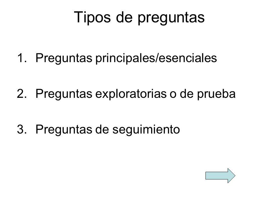 Tipos de preguntas Preguntas principales/esenciales