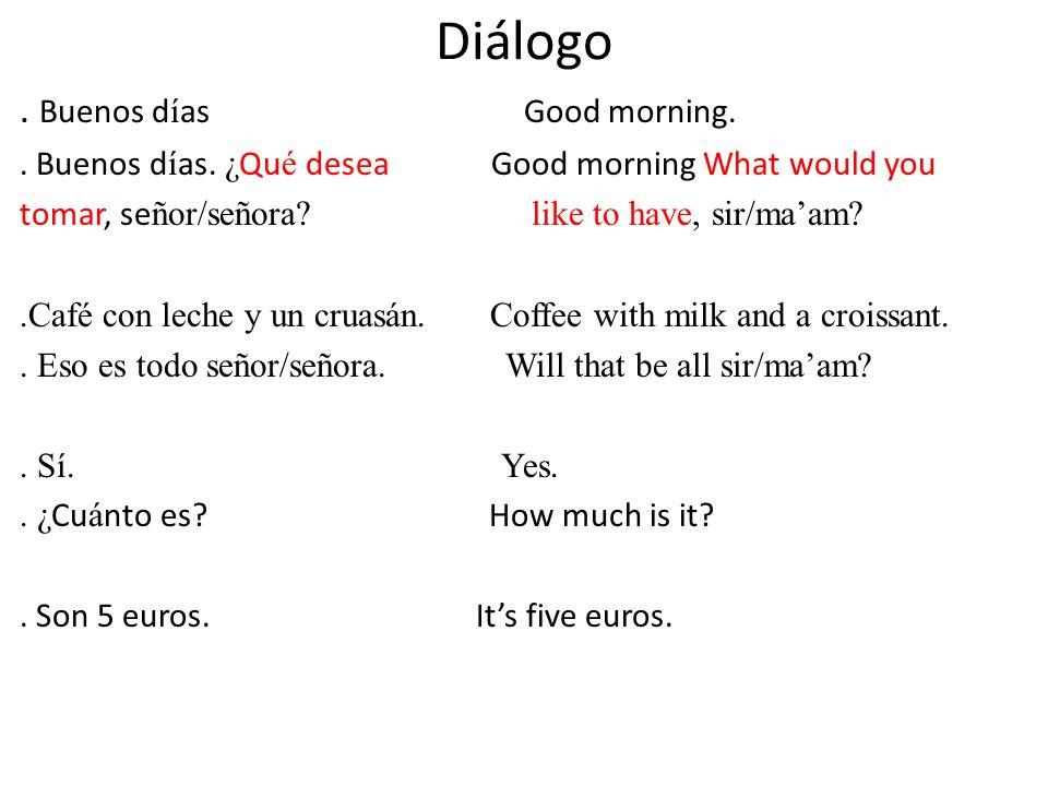 Diálogo . Buenos días Good morning.