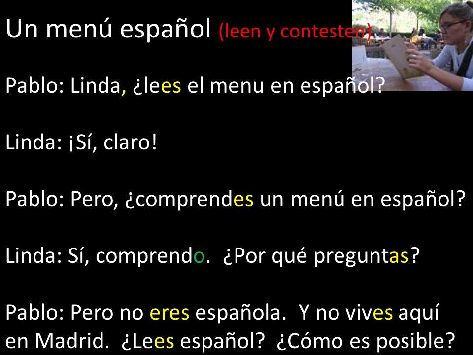 Un menú español (leen y contesten)