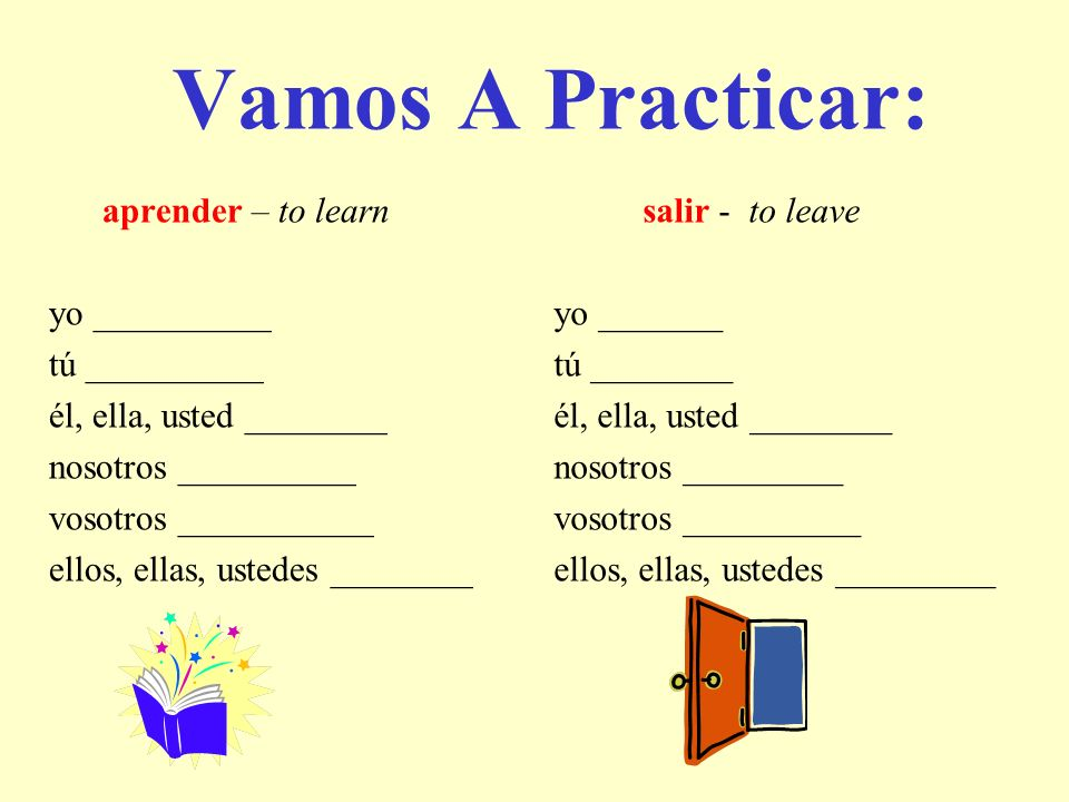 Vamos A Practicar: aprender – to learn yo __________ tú __________