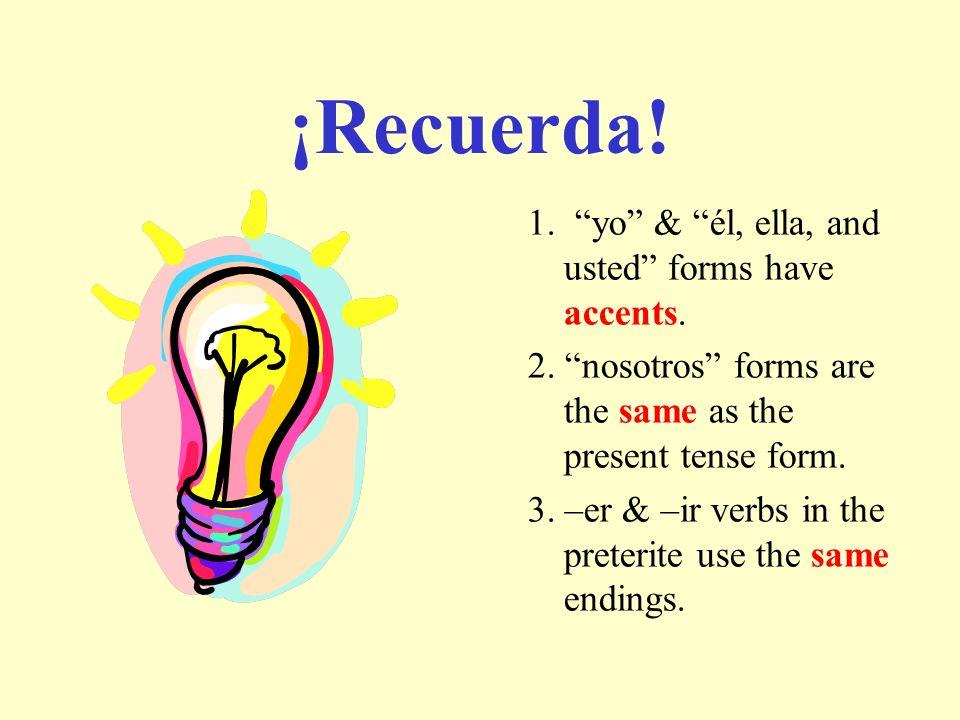 ¡Recuerda! 1. yo & él, ella, and usted forms have accents.