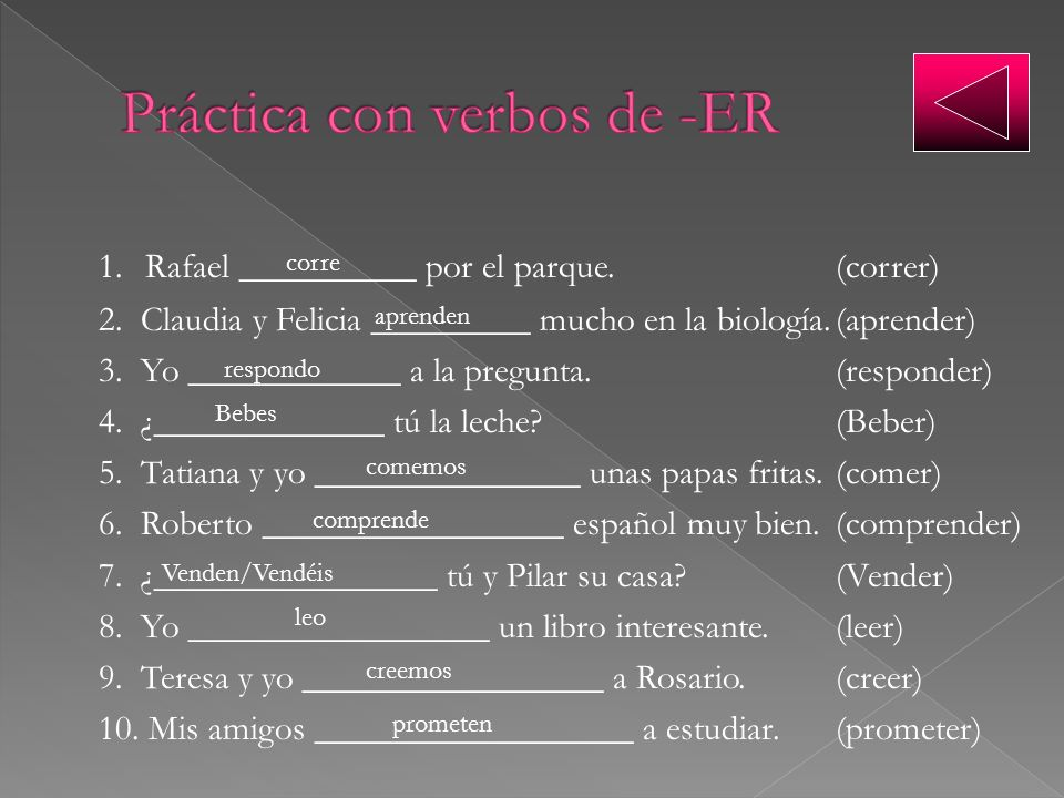 Práctica con verbos de -ER