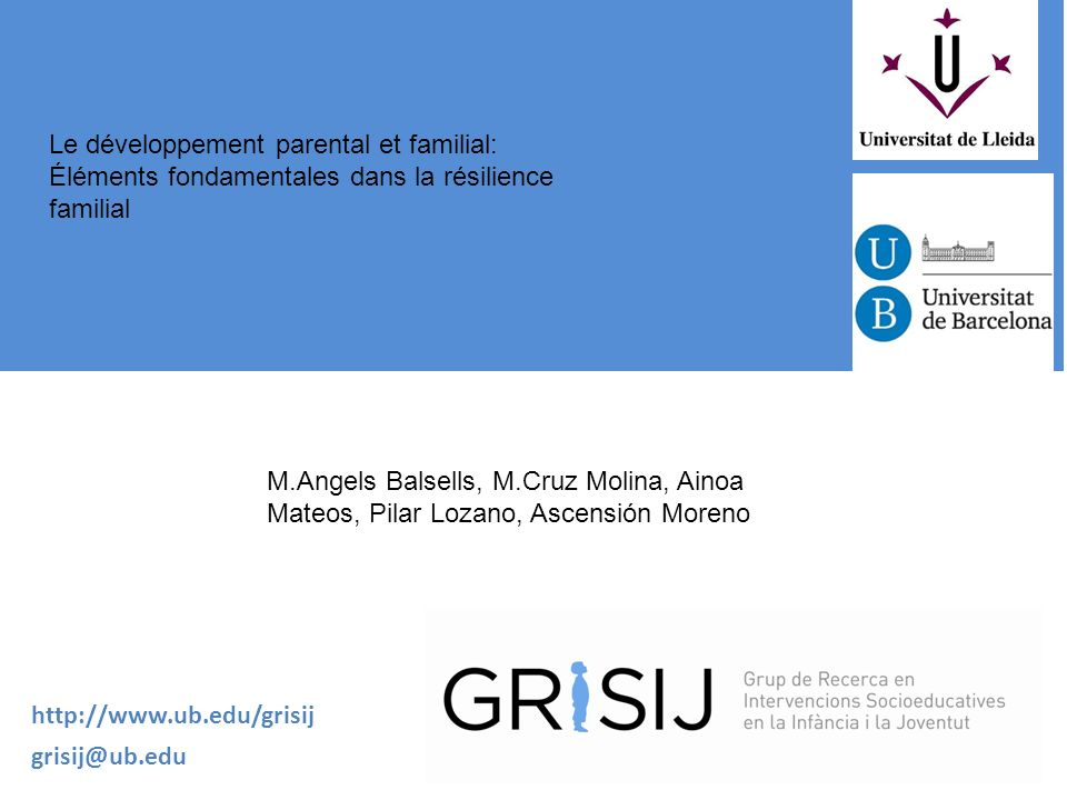 Le développement parental et familial: Éléments fondamentales dans la résilience familial
