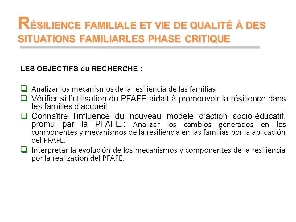 RÉSILIENCE FAMILIALE ET VIE DE QUALITÉ À DES SITUATIONS FAMILIARLES PHASE CRITIQUE