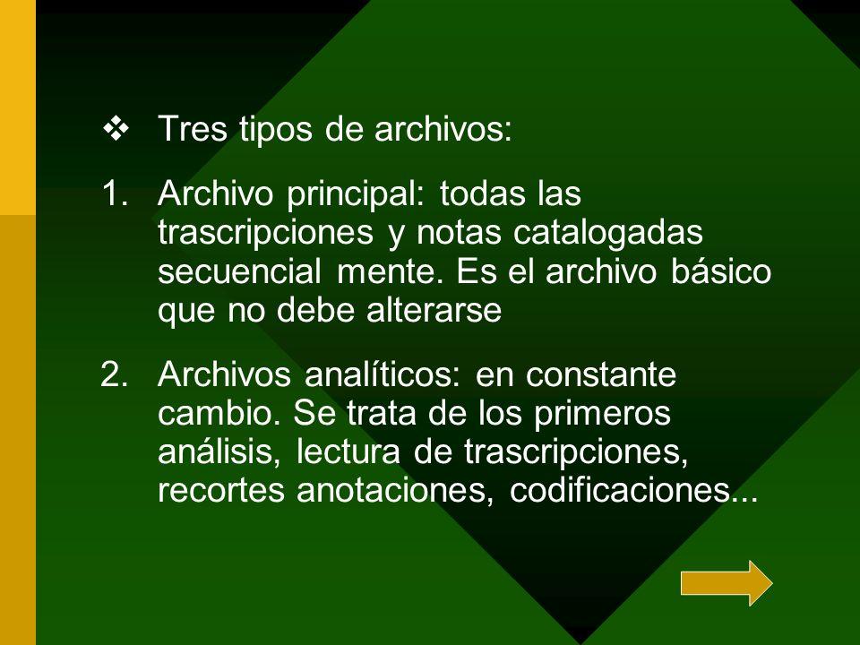 Tres tipos de archivos: