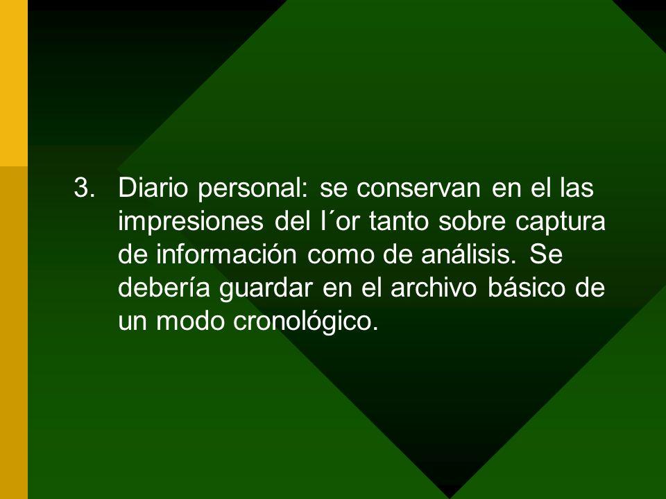 Diario personal: se conservan en el las impresiones del I´or tanto sobre captura de información como de análisis.