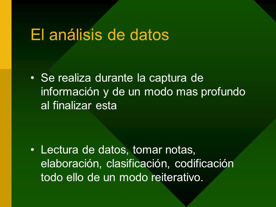 El análisis de datos Se realiza durante la captura de información y de un modo mas profundo al finalizar esta.