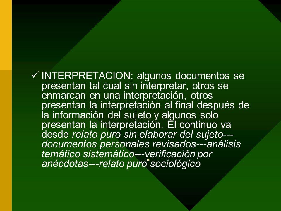 INTERPRETACION: algunos documentos se presentan tal cual sin interpretar, otros se enmarcan en una interpretación, otros presentan la interpretación al final después de la información del sujeto y algunos solo presentan la interpretación.