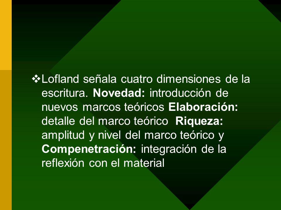 Lofland señala cuatro dimensiones de la escritura