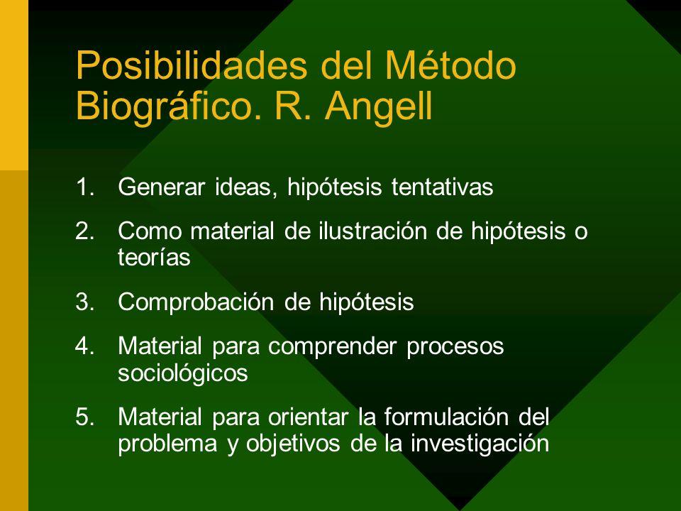 Posibilidades del Método Biográfico. R. Angell