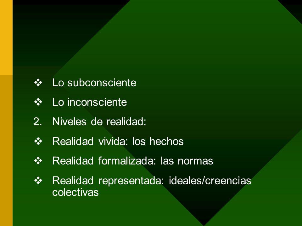 Lo subconscienteLo inconsciente. Niveles de realidad: Realidad vivida: los hechos. Realidad formalizada: las normas.