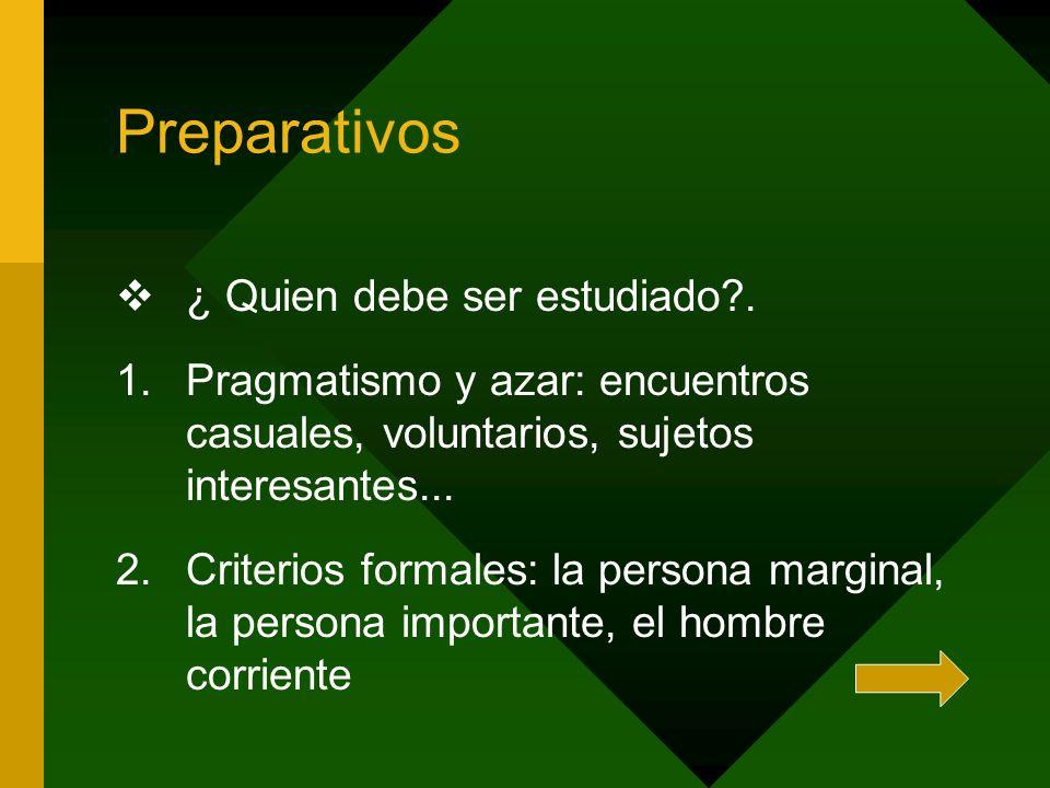 Preparativos ¿ Quien debe ser estudiado .