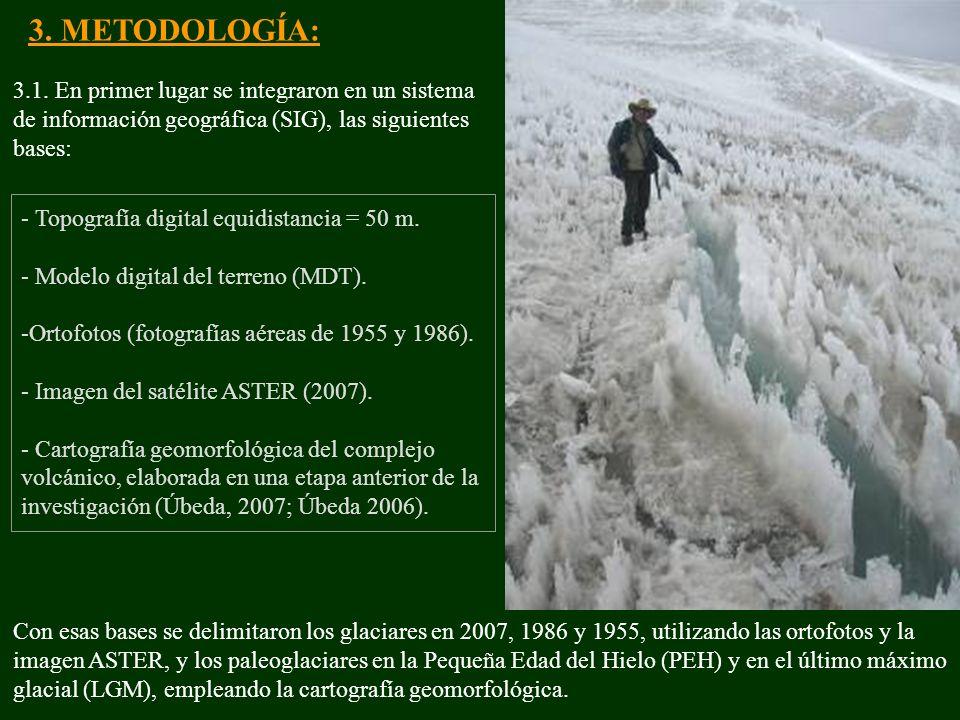 3. METODOLOGÍA: 3.1. En primer lugar se integraron en un sistema de información geográfica (SIG), las siguientes bases: