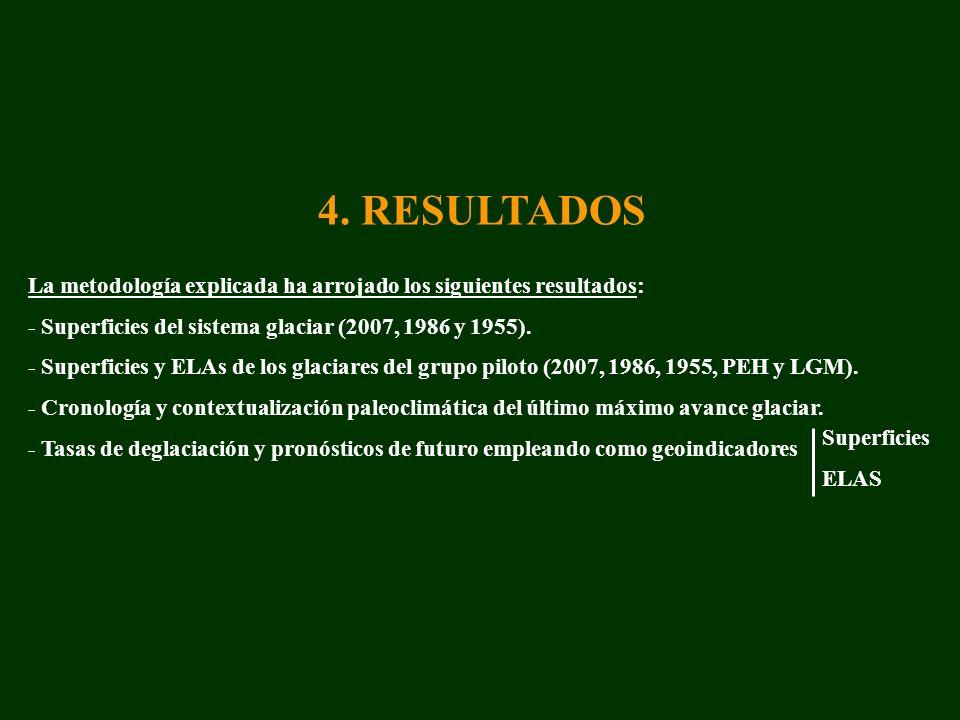 4. RESULTADOS La metodología explicada ha arrojado los siguientes resultados: - Superficies del sistema glaciar (2007, 1986 y 1955).