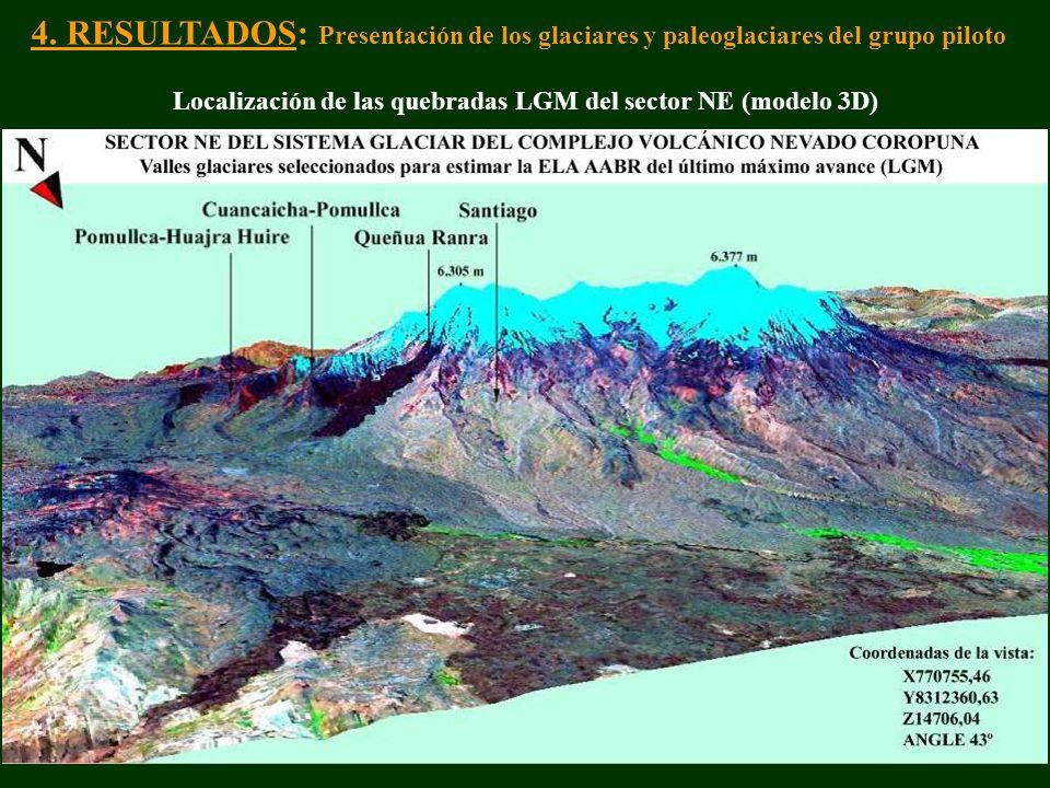 Localización de las quebradas LGM del sector NE (modelo 3D)