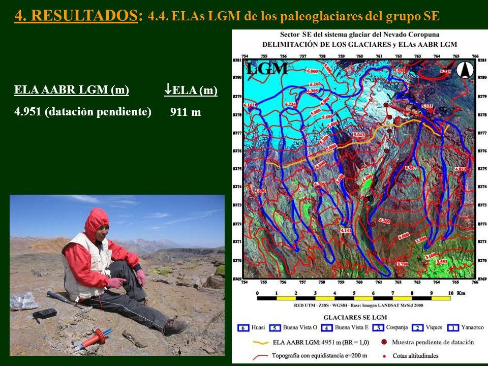 4. RESULTADOS: 4.4. ELAs LGM de los paleoglaciares del grupo SE