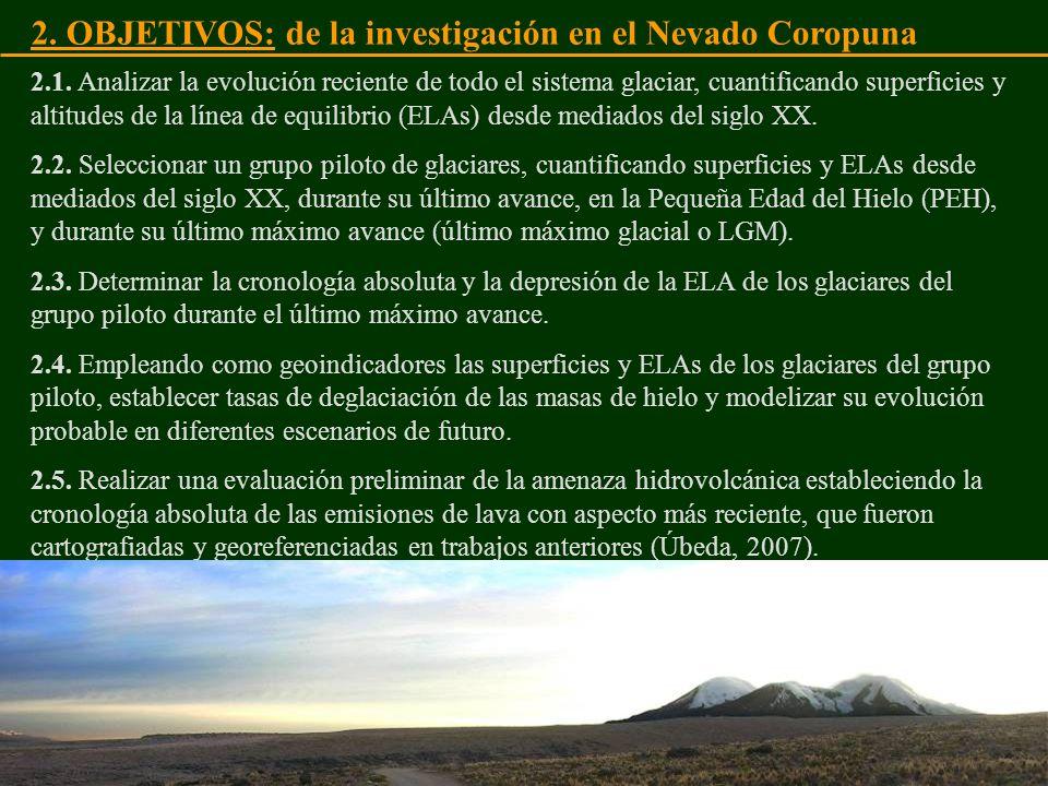 2. OBJETIVOS: de la investigación en el Nevado Coropuna