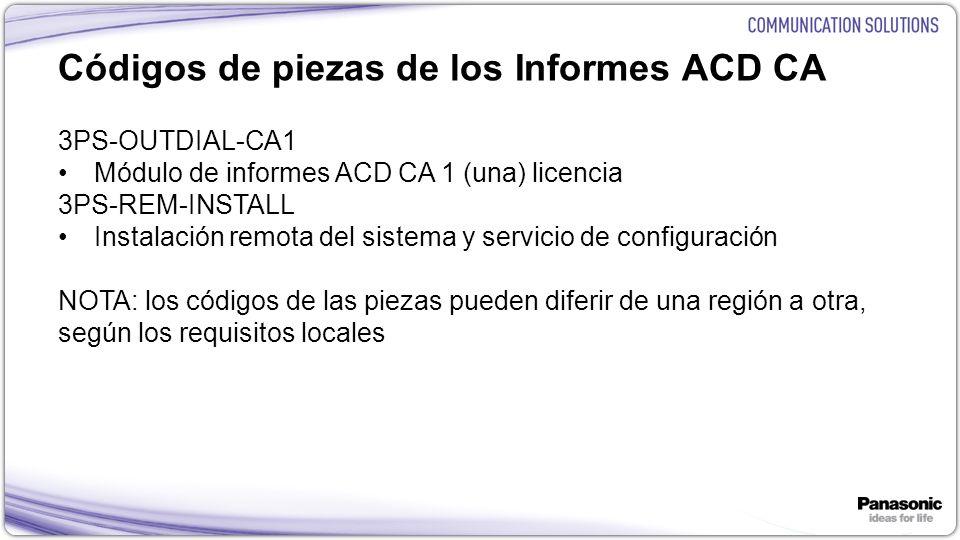 Códigos de piezas de los Informes ACD CA