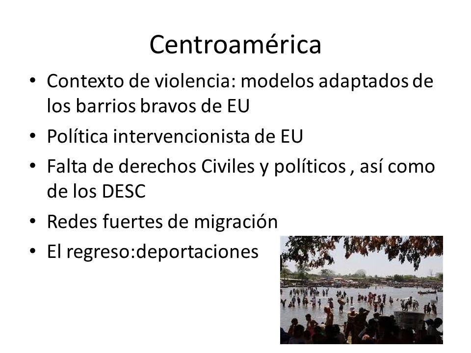 Centroamérica Contexto de violencia: modelos adaptados de los barrios bravos de EU. Política intervencionista de EU.