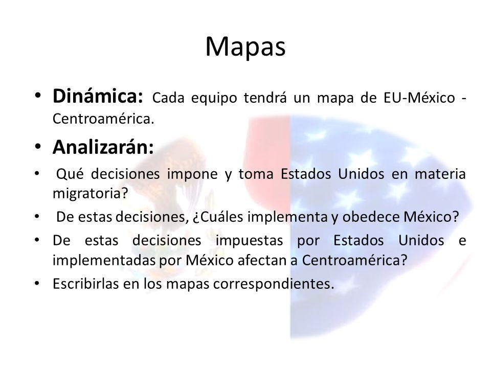 Mapas Dinámica: Cada equipo tendrá un mapa de EU-México -Centroamérica. Analizarán: