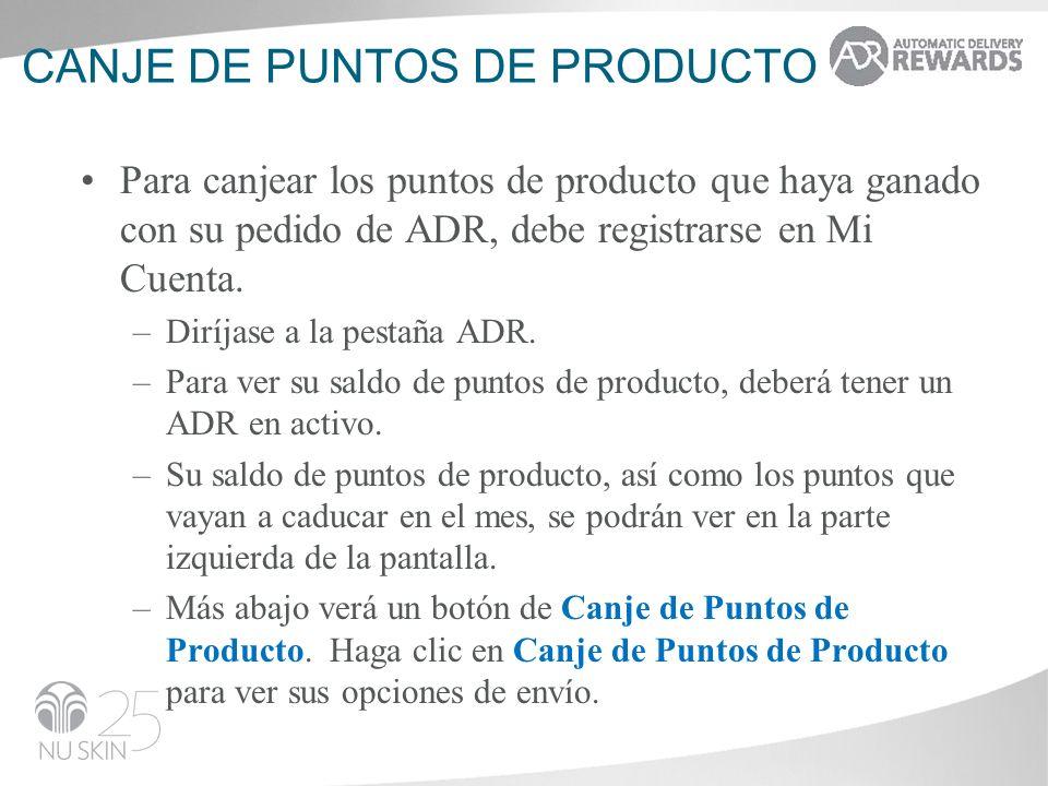 Canje de puntos de producto