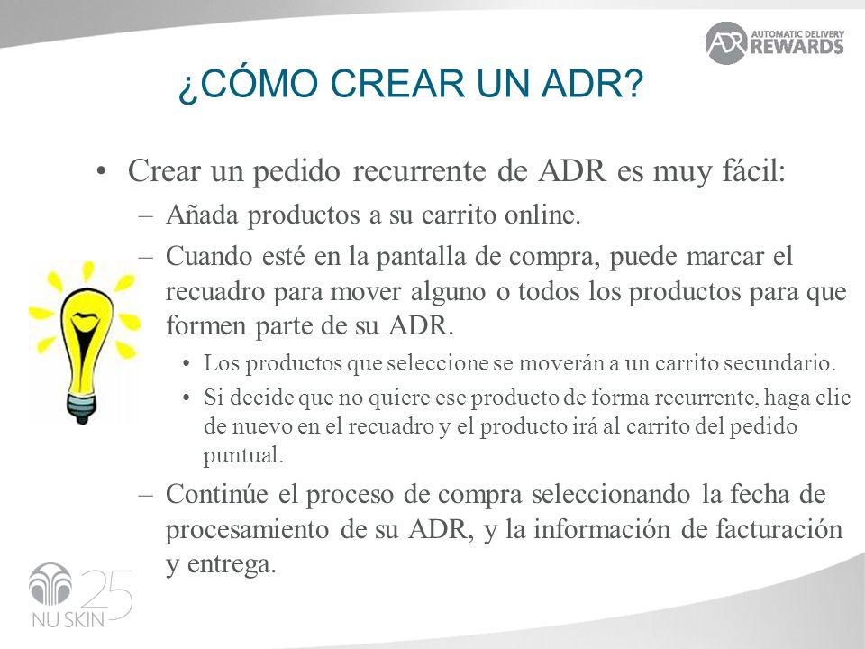 ¿cómo crear un adr Crear un pedido recurrente de ADR es muy fácil: