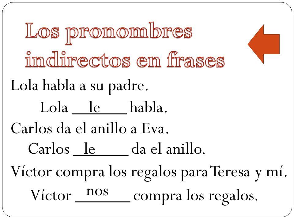 Los pronombres indirectos en frases