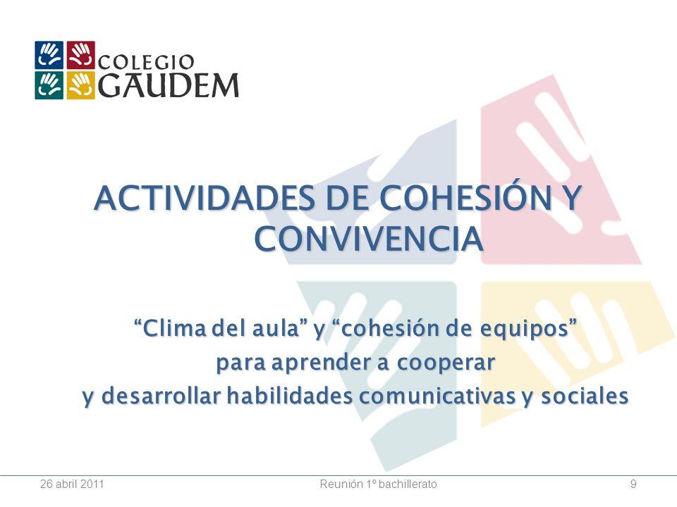 ACTIVIDADES DE COHESIÓN Y CONVIVENCIA