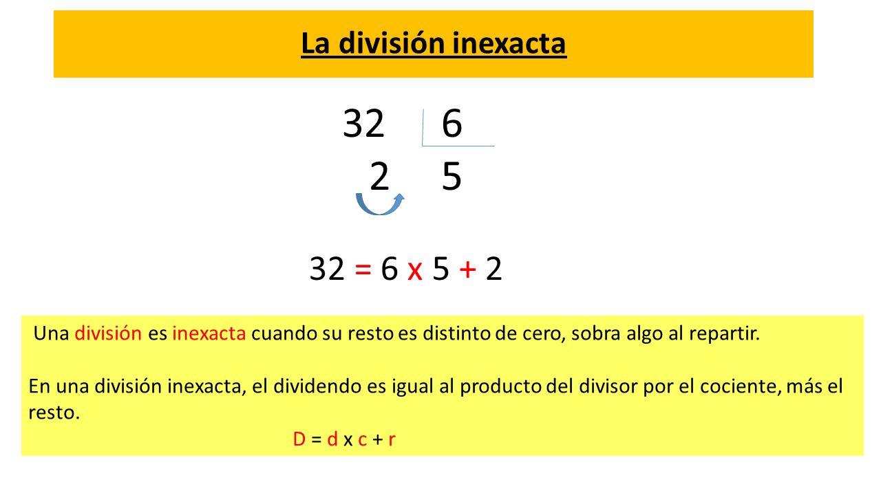 6 2 5 32 = 6 x 5 + 2 La división inexacta