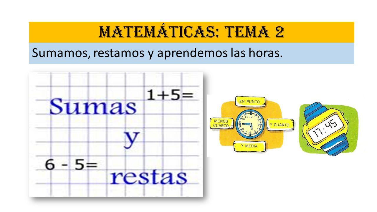 MATEMÁTICAS: TEMA 2 Sumamos, restamos y aprendemos las horas.