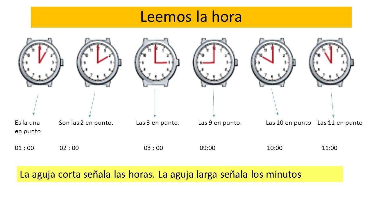 Leemos la hora Es la una Son las 2 en punto. Las 3 en punto. Las 9 en punto. Las 10 en punto Las 11 en punto.