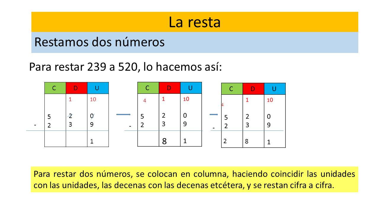 La resta Restamos dos números Para restar 239 a 520, lo hacemos así: 8