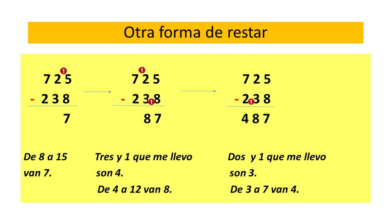Otra forma de restar 7 2 5 7 2 5 7 2 5 - 2 3 8 - 2 3 8 - 2 3 8