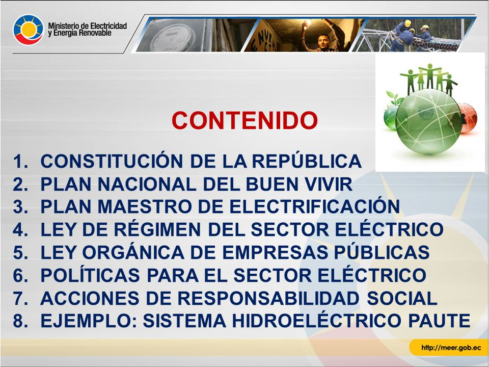CONTENIDO CONSTITUCIÓN DE LA REPÚBLICA PLAN NACIONAL DEL BUEN VIVIR