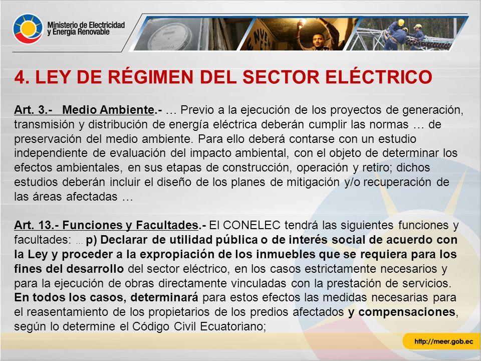 4. LEY DE RÉGIMEN DEL SECTOR ELÉCTRICO