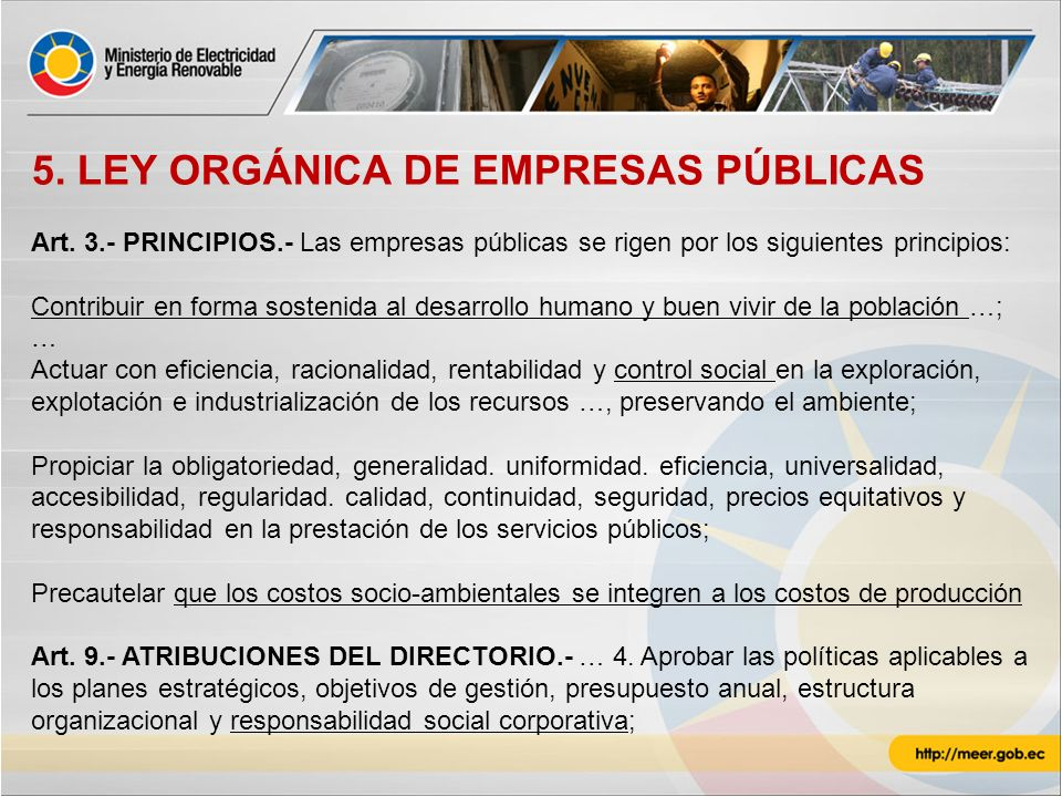 5. LEY ORGÁNICA DE EMPRESAS PÚBLICAS