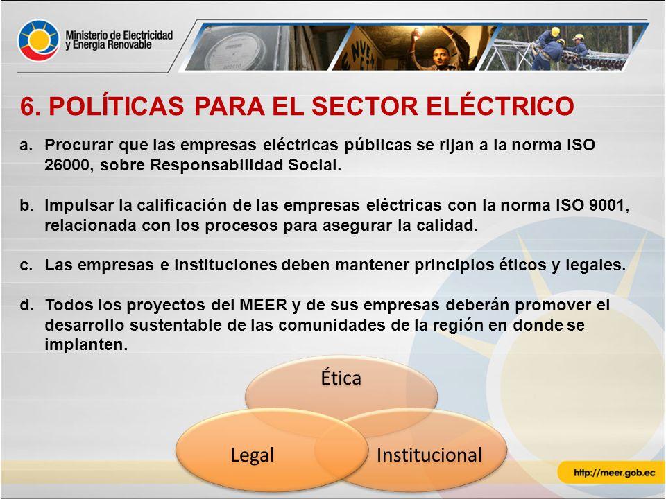 6. POLÍTICAS PARA EL SECTOR ELÉCTRICO