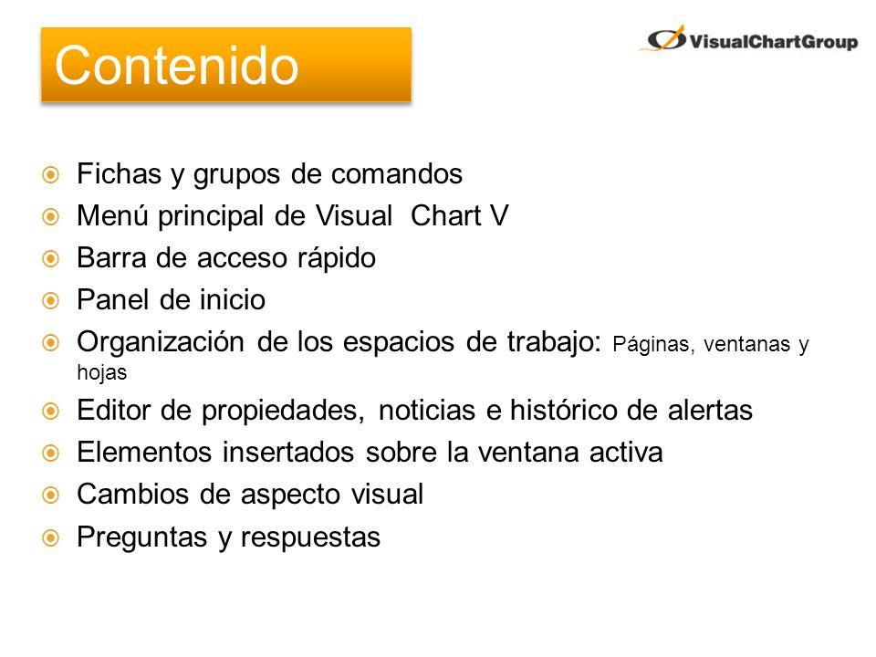 Contenido Fichas y grupos de comandos Menú principal de Visual Chart V