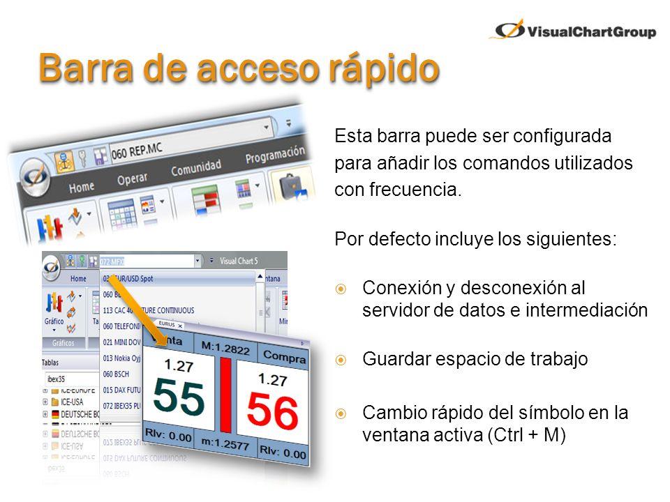 Barra de acceso rápido Esta barra puede ser configurada