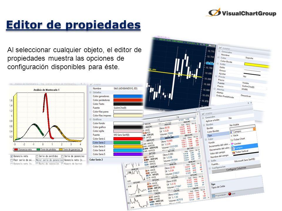 Editor de propiedades Al seleccionar cualquier objeto, el editor de propiedades muestra las opciones de configuración disponibles para éste.