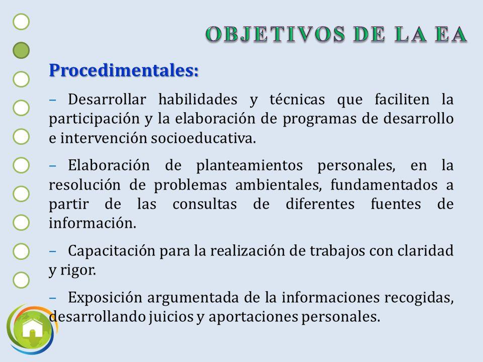 OBJETIVOS DE LA EA Procedimentales: