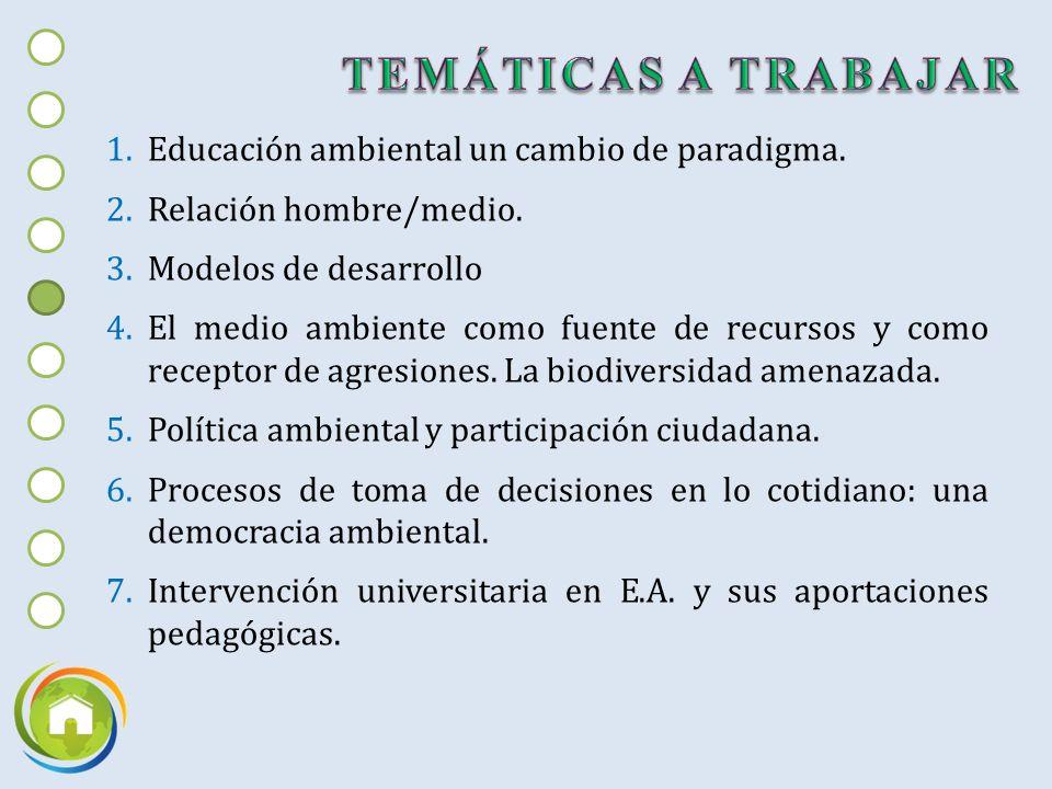 TEMÁTICAS A TRABAJAR Educación ambiental un cambio de paradigma.