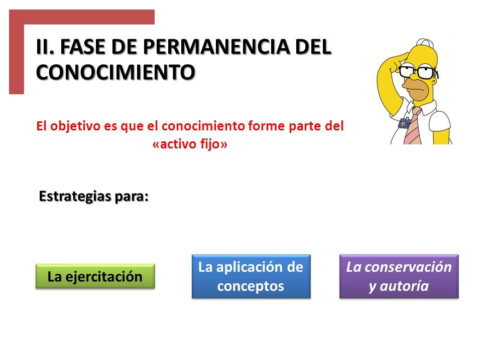 II. FASE DE PERMANENCIA DEL CONOCIMIENTO