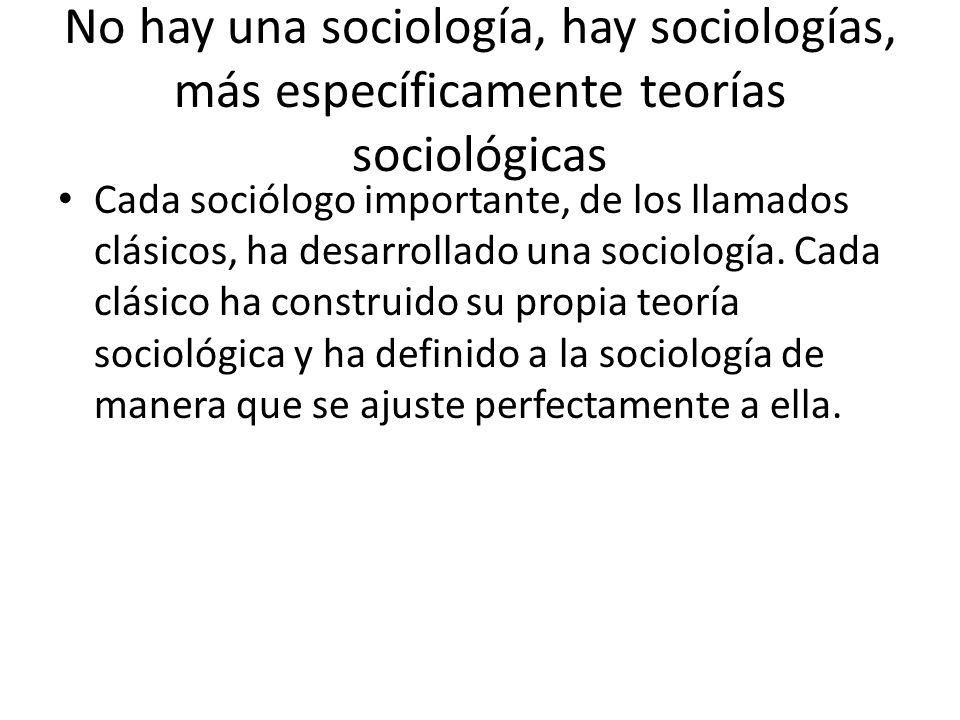 No hay una sociología, hay sociologías, más específicamente teorías sociológicas