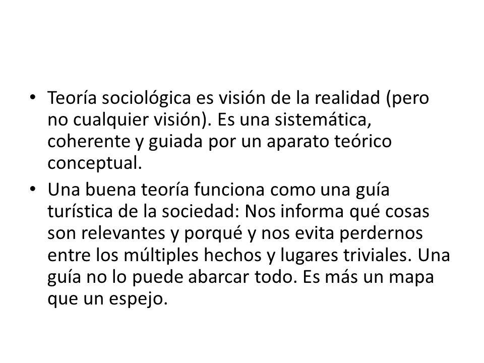 Teoría sociológica es visión de la realidad (pero no cualquier visión)