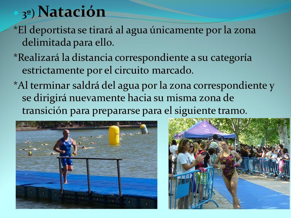 3º) Natación *El deportista se tirará al agua únicamente por la zona delimitada para ello.