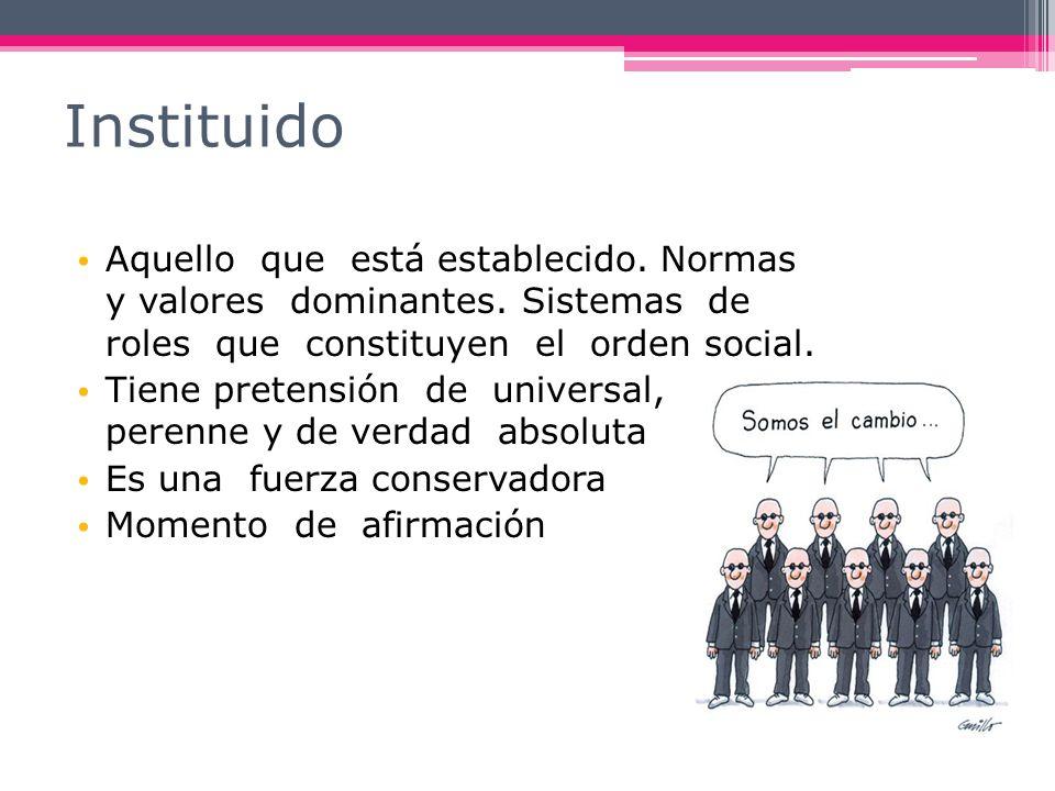 Instituido Aquello que está establecido. Normas y valores dominantes. Sistemas de roles que constituyen el orden social.