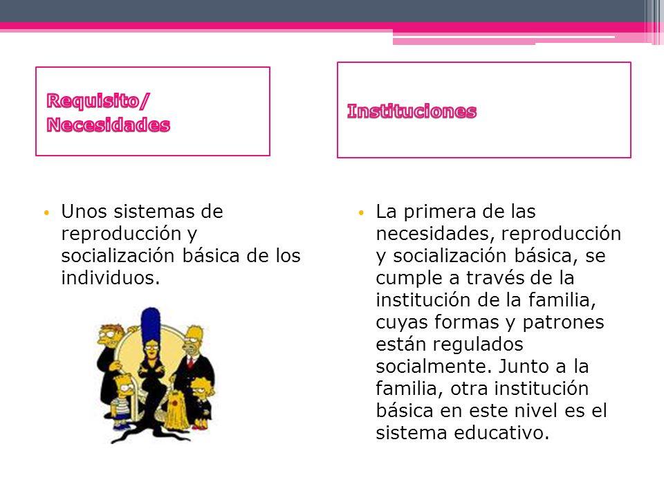 Instituciones Requisito/ Necesidades. Unos sistemas de reproducción y socialización básica de los individuos.